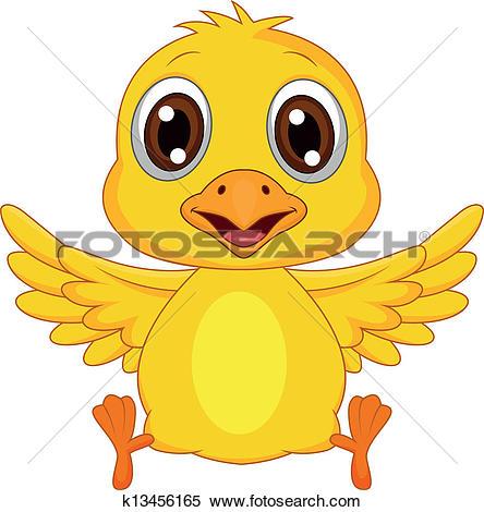 Clipart of Cute baby chicken cartoon k13610780.