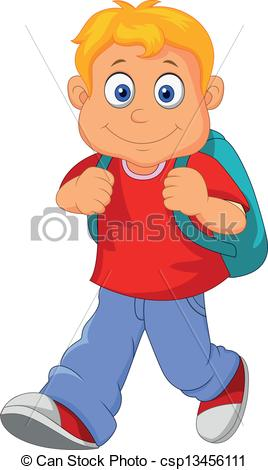 Vector Clip Art of Little boy walking.