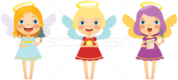 Set of Christmas angels vector illustration © Yuliya Yurchenko.