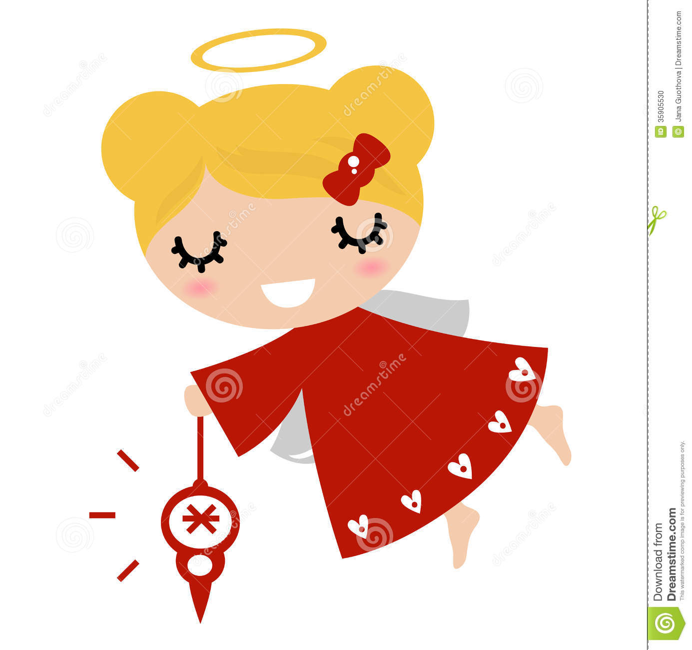 Adorable Angel Girl With Xmas Stock Photo.