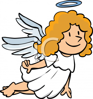 Royalty Free Clip Art Image: Christmas Angel Flying with a Halo.