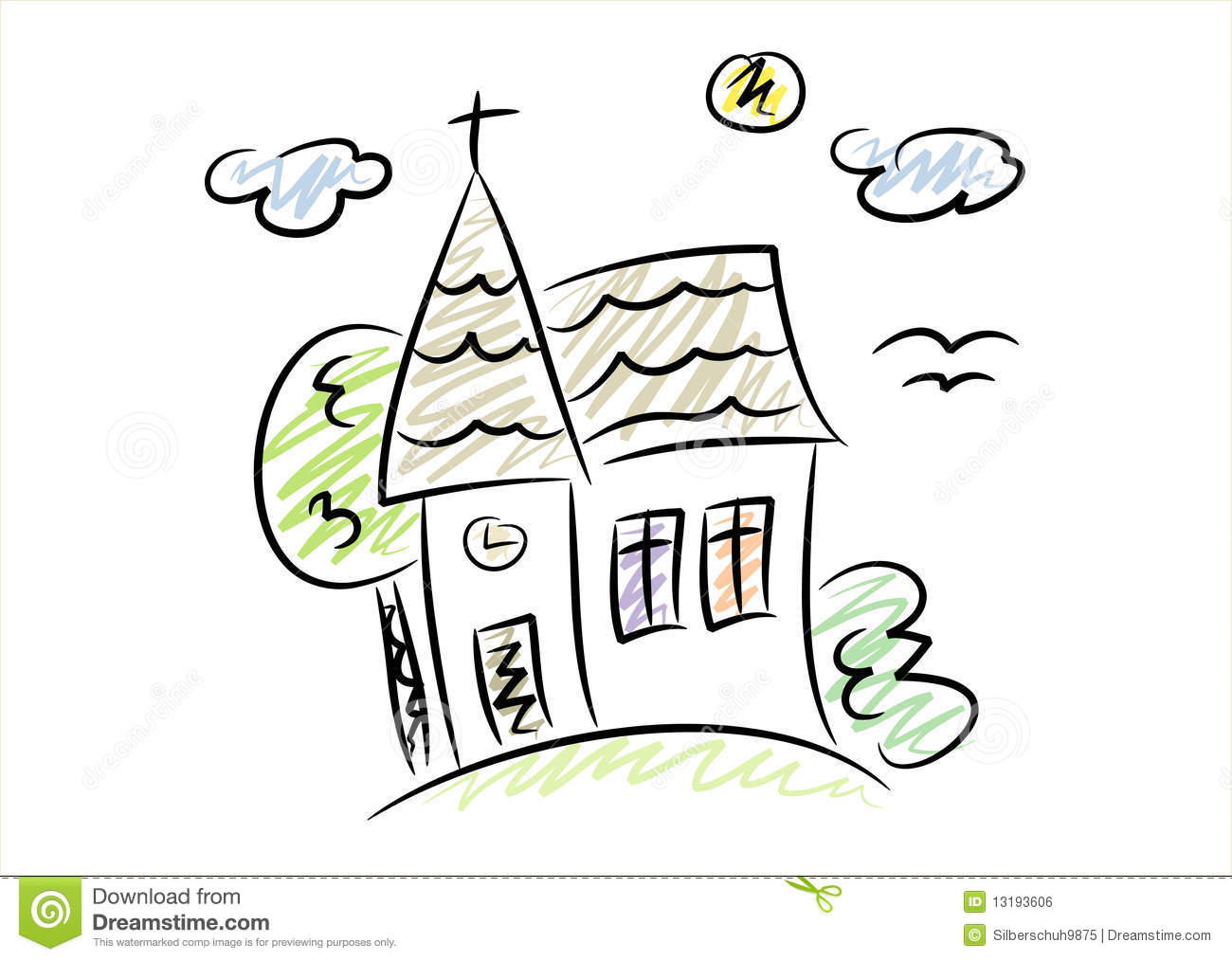 Simple Drawing Of A Little Church Royalty Free Stock Image.
