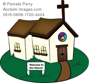 Clip Art Illustration of a Little Country Church.