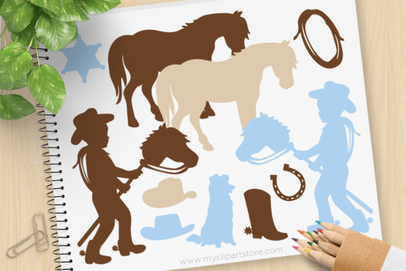 Little Cowboy Clipart Stamps.