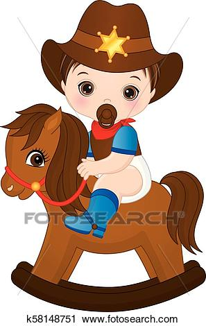Vector Cute Little Baby Boy Dressed as Cowboy Clipart.