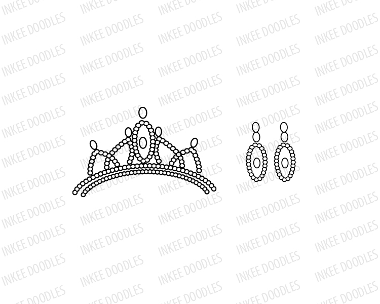 Little Princess Crown Tiara and Earrings Clip Art set. Comes with.