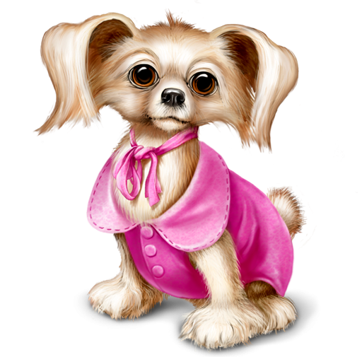 Little Dog With Pink Dress Icon, PNG ClipArt Image.