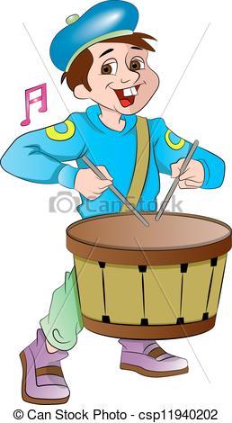 Vector Clipart of Little Drummer Boy, illustration.