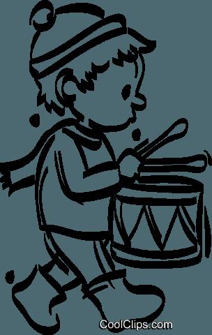 little drummer boy Royalty Free Vector Clip Art illustration.