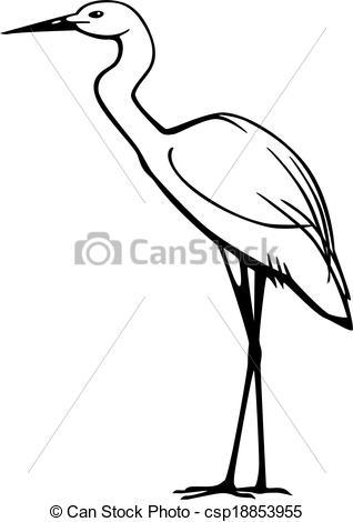 Clipart Vector of Egret.
