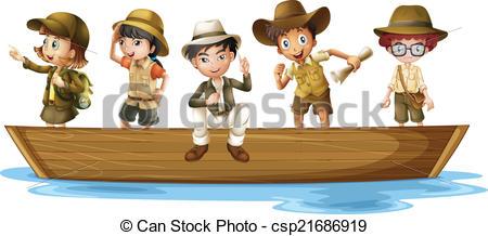 Vector Clip Art of Young explorers.