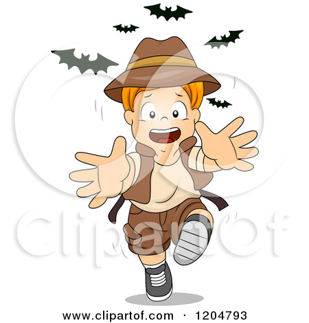 Cartoon of a Red Haired White Explorer Boy with a Treasure Chest.