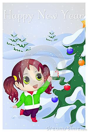 Cartoon Little Girl With A Fir.