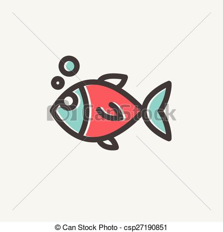 Vector Clipart of Little fish thin line icon.