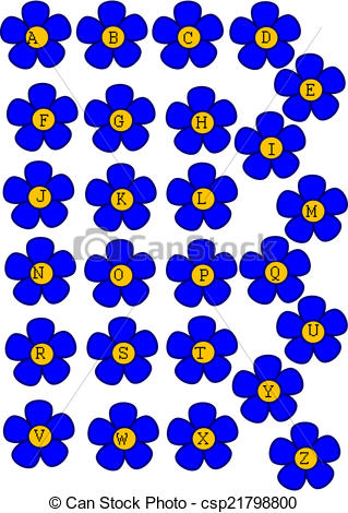Vector Clipart of Little Flowers with Big Letters.