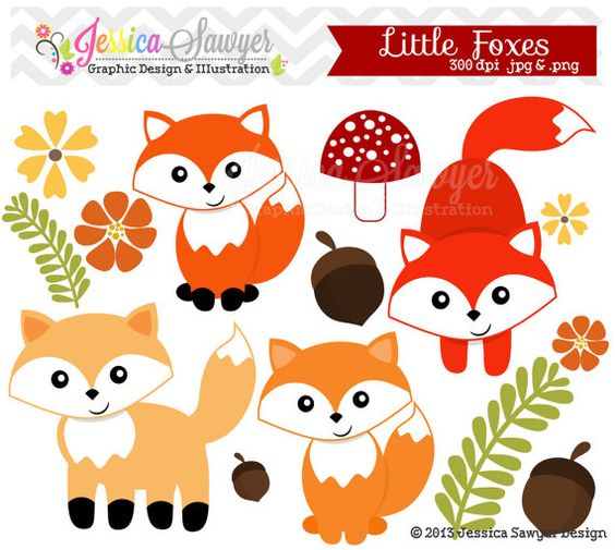 INSTANT DOWNLOAD, little fox clipart, woodland clip art, for.