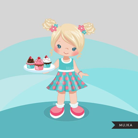 Cupcake chef clip art, baker, cookie & sweets. Baking girl.