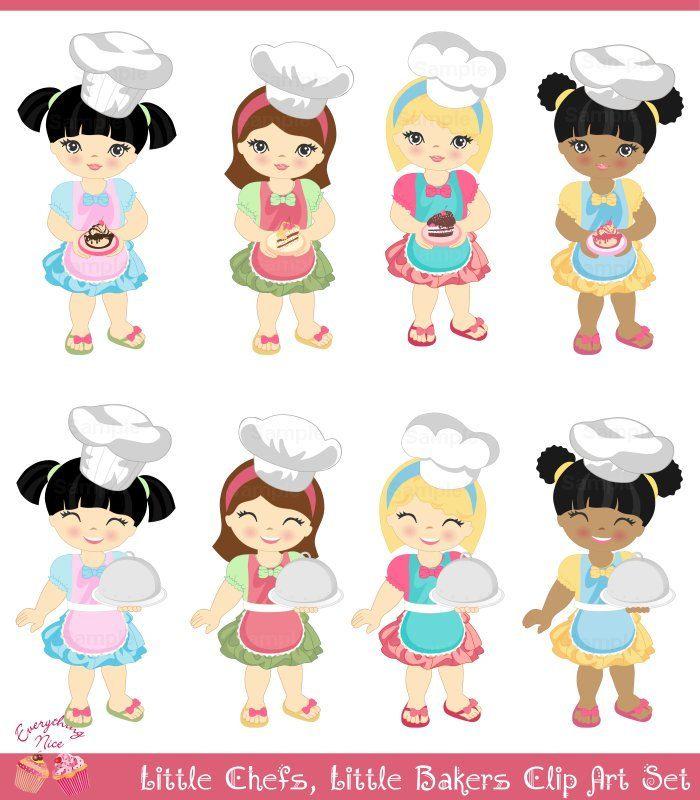 Little Chefs, little bakers, cake girls Clip Art Set.