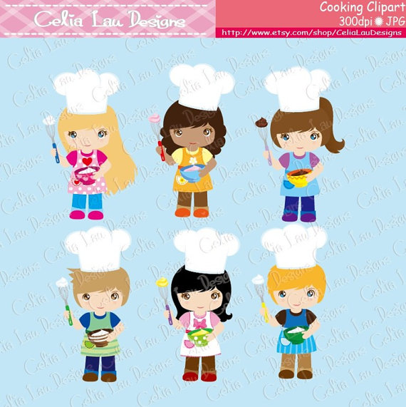 Cooking Clipart, Baking Clipart, Little Baker Cooking.