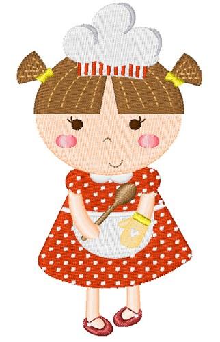 Brunette Little Girl Baker Embroidery Design.