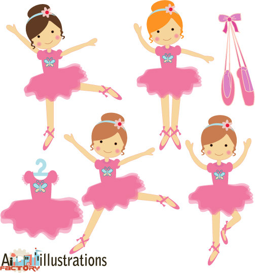 Little Girl Ballerina Hair Clipart.