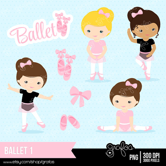 Digital Ballerina Clipart, Purple Ballet Girl Clip Art, Dancing.