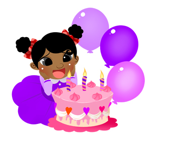 Girl With Birthday Cake Clipart.