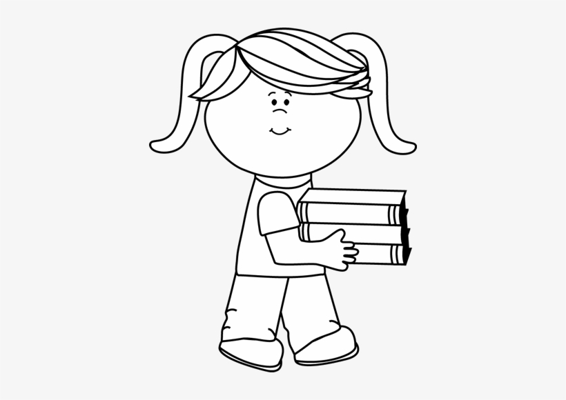Black And White Little Girl Carrying A Stack Of Books.