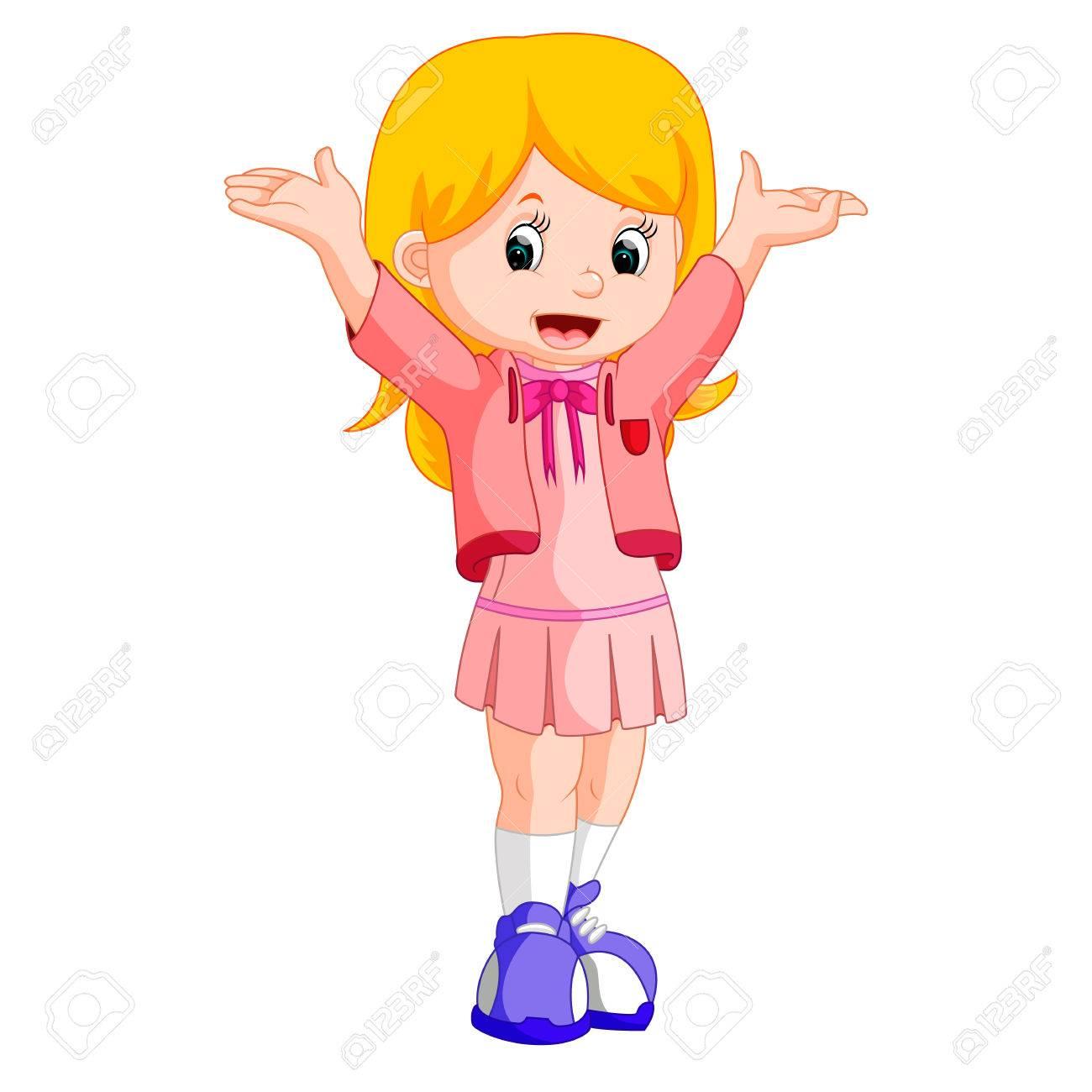 Happy little girl cartoon.