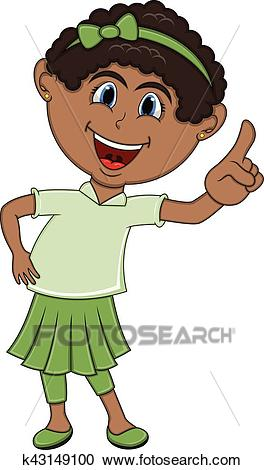 Beautiful little girl pointing her finger cartoon Clipart.