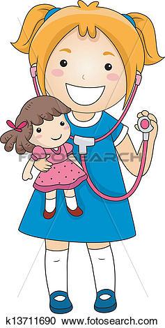 Clipart of Little Girl Doctor k13711690.