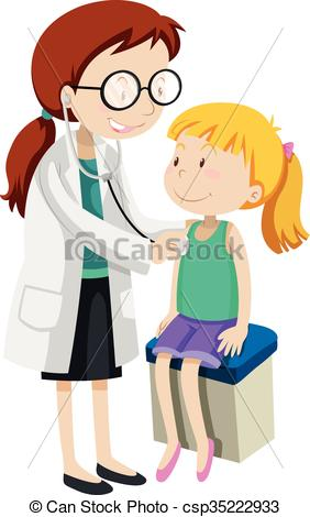 Clipart Vector of Doctor checking up little girl in clinic.