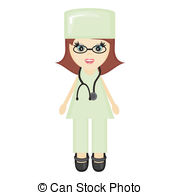 EPS Vector of nice young girl doctor on white csp6945824.