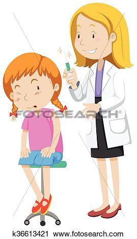 Clipart of Doctor healing little girl k36613421.