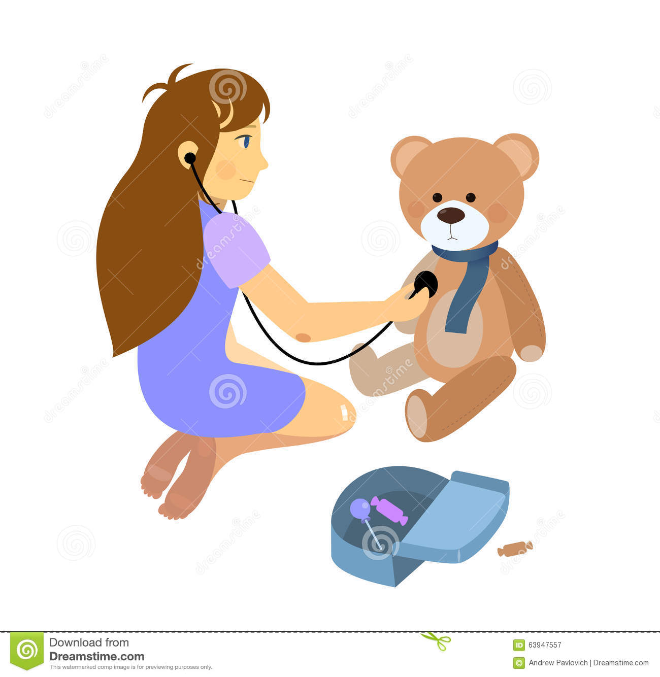 Little Girl Playing A Doctor With Plush Teddy Bear Stock Vector.