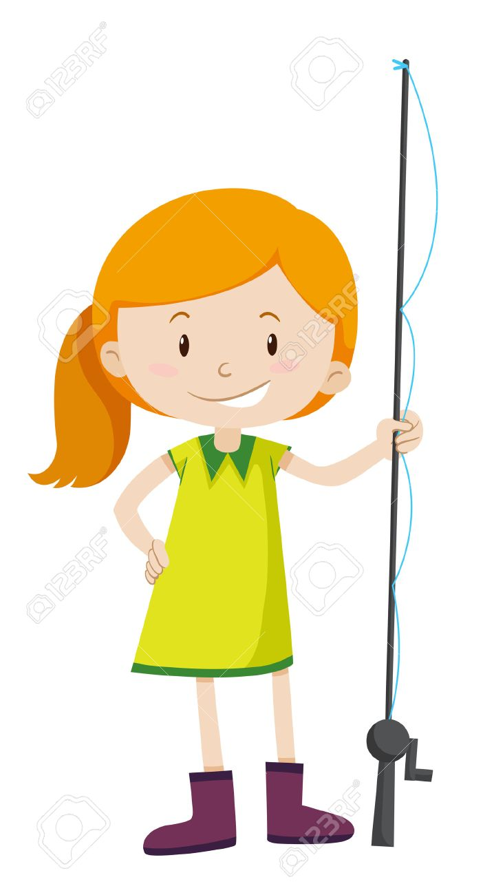 Little girl with fishing pole illustration.