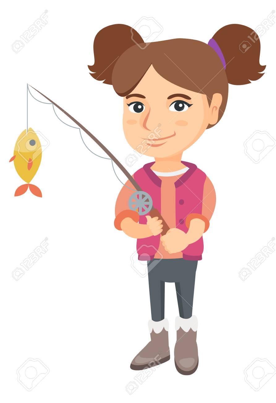 Caucasian little girl fishing. Full length of smiling girl holding...
