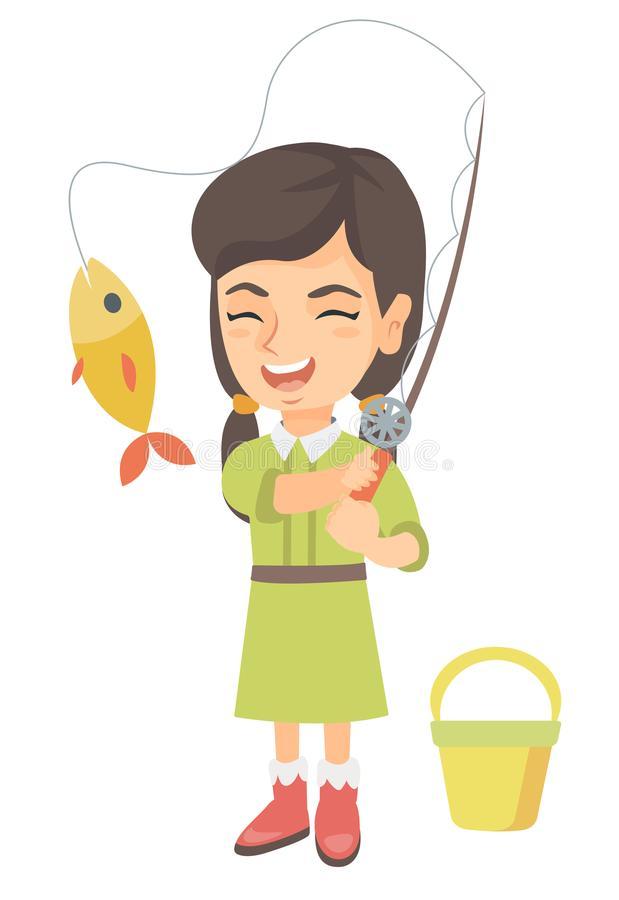 Little Girl Fishing Stock Illustrations.