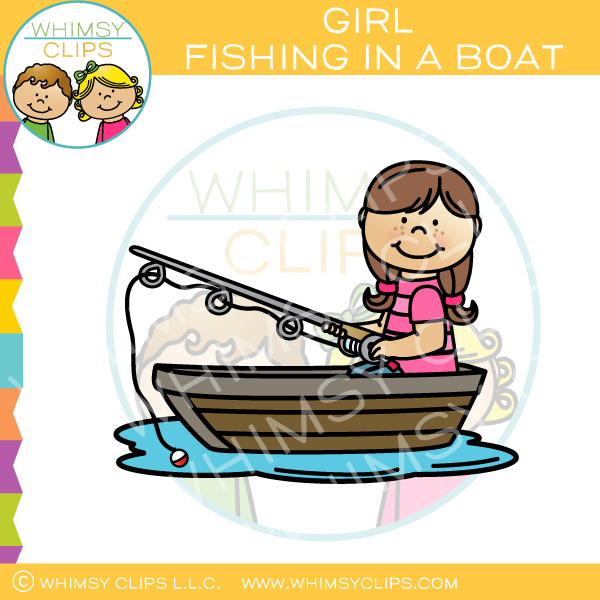 Little girl fishing clip art , Images & Illustrations.
