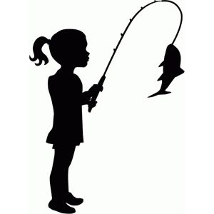 Little girl fishing silhouette.