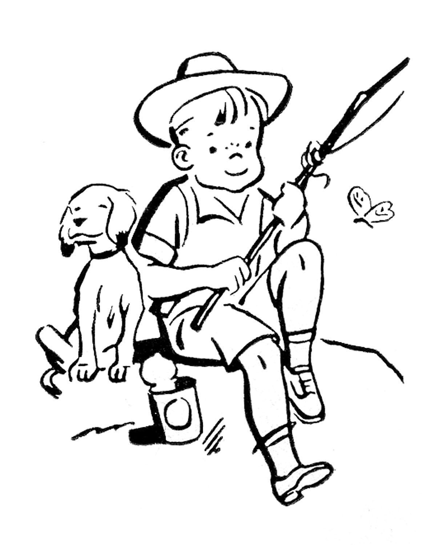 Little Girl Fishing Clipart Black And White.