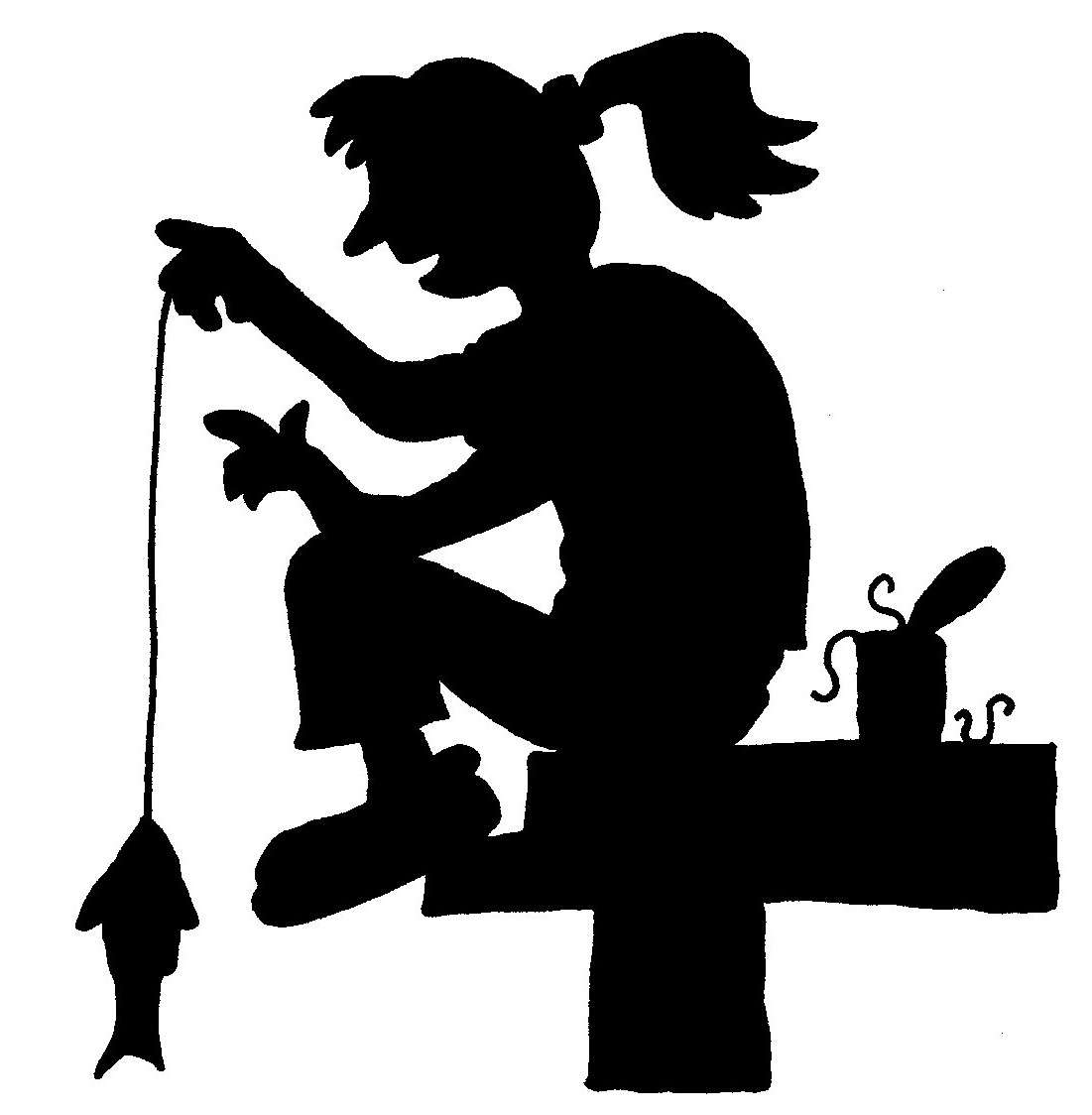 Clipart Silhouette Of Girl Fishing.
