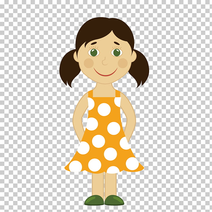 Cartoon Girl Illustration, cute cartoon little girl PNG.