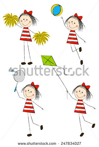 Two Boys Throwing Catching Ball Illustration Stock Vector.