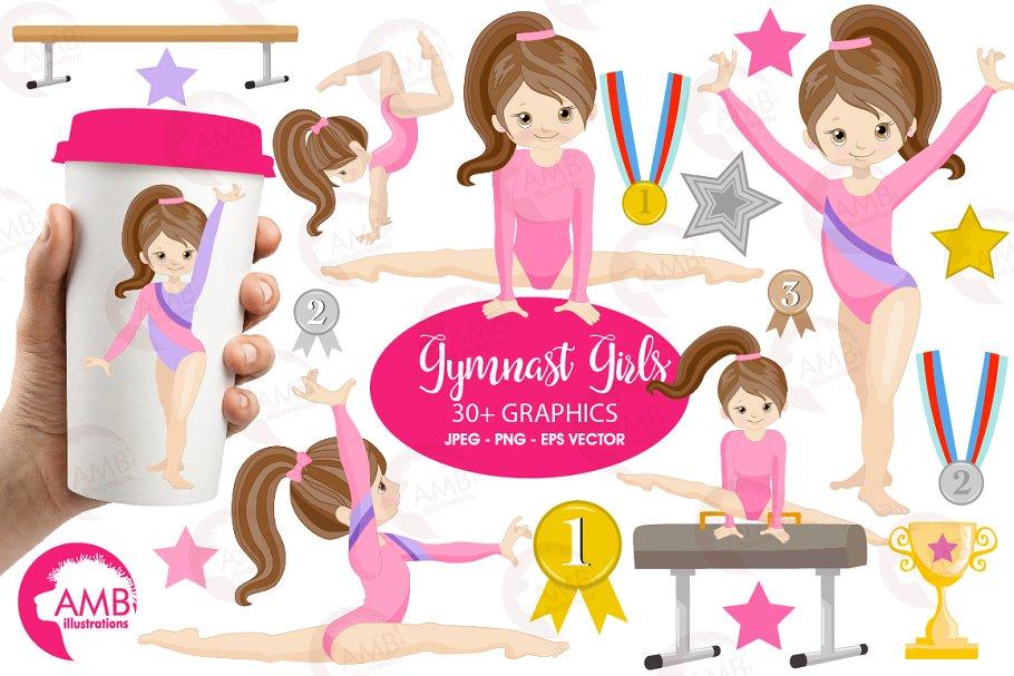 Gymnast Girls Clipart AMB.
