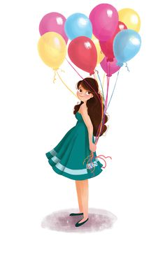 7 Best girl holding balloons images.