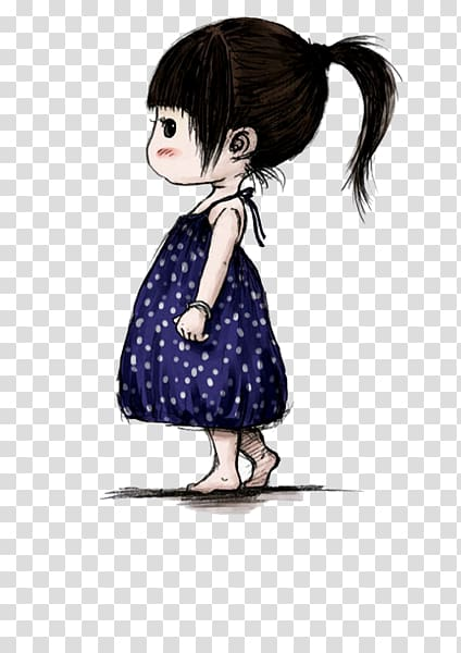 Cartoon Girl Daughter Illustration, Cute little girl.
