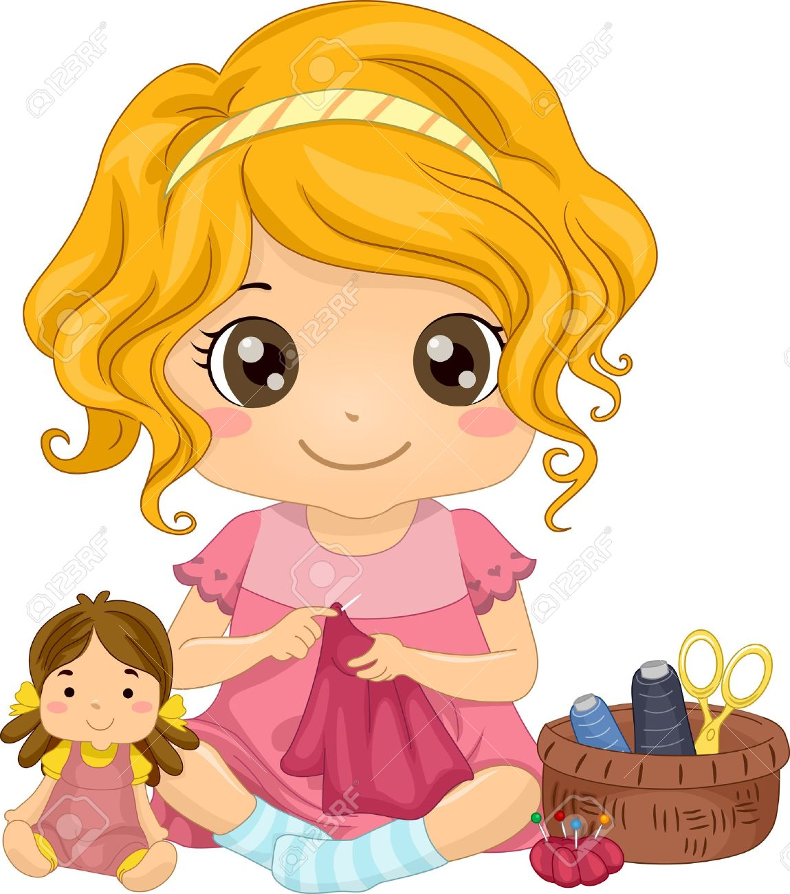 10488 Little Girl free clipart.