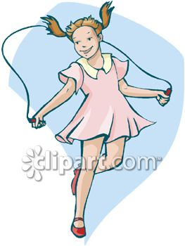 Clipart Of Little Girl Jumping Rope.