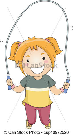 Vector Illustration of Jumping Rope Girl.